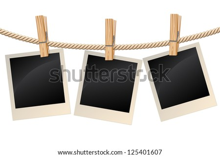 Blank photos hanging on a clothesline. Raster version. Vector is also available in my gallery - stock photo