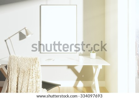 Blank picture frame on the wall in sunny room with lamp on the table and chair, mock up 3D Render - stock photo