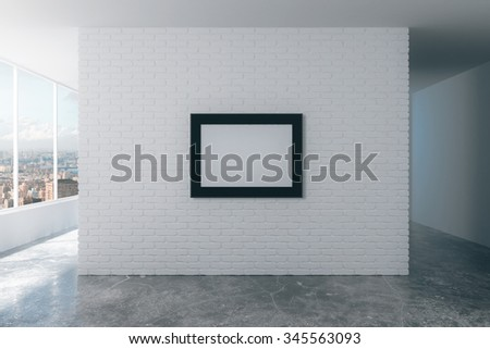 Blank picture frame on white brick wall in empty loft room, mock up 3D Render - stock photo