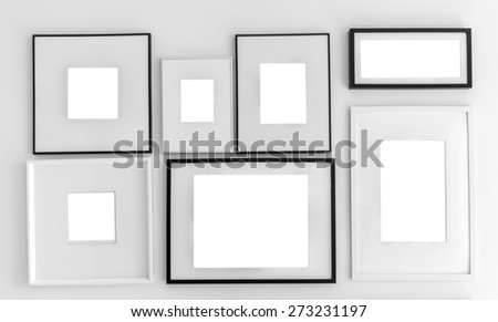 Blank picture frame template set on wall ( with separate layer clipping path : Inside frame 1-7 )