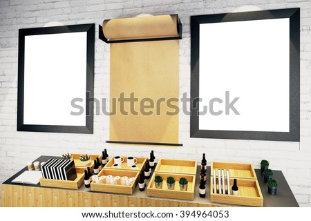 Blank picture frames and parchment roll on brick wall in cafe interior. Mock up, 3D Render - stock photo