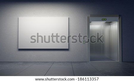 blank picture in the elevator's hall - stock photo