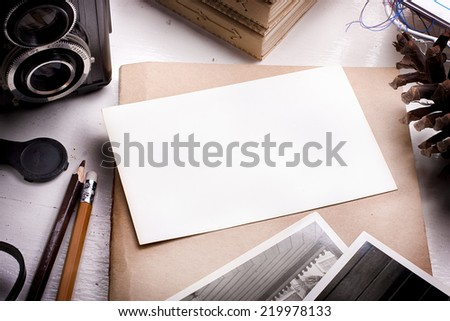 Blank picture of the photo on the desk of the photographer. - stock photo