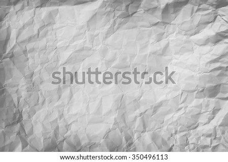 Blank piece of crumpled plain white paper, crushed and textured background. - stock photo