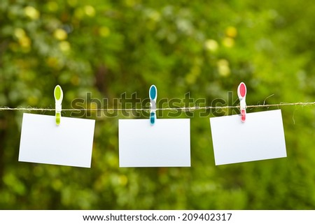 Blank pieces of paper hang on clothesline on green garden  background  - stock photo