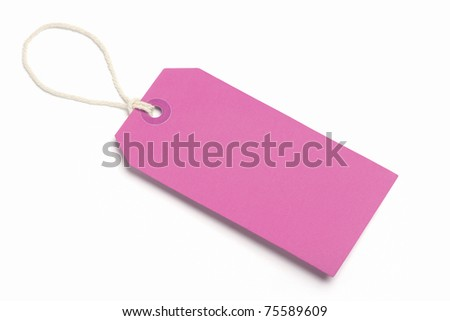 Blank, pink tag, Isolated on white. - stock photo