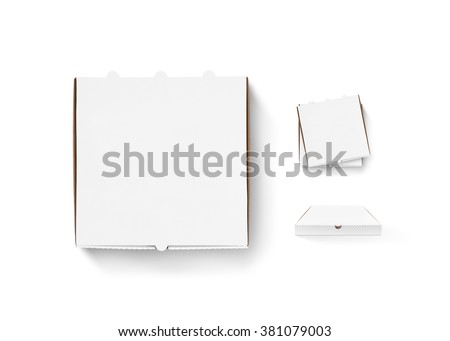 Blank pizza box design mock up set isolated. Carton packaging pizza box delivery clear mockup. Hot pizza clear box template. Stack of boxes top view. Food container any side. Pizza boxes. - stock photo