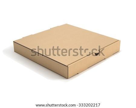 blank pizza box isolated  - stock photo