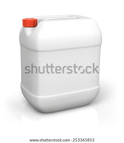 Blank plastic canister for motor oil isolated on white backgroun - stock photo