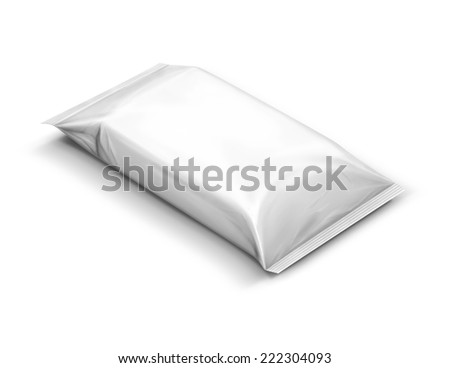 blank plastic pouch isolated on white background - stock photo