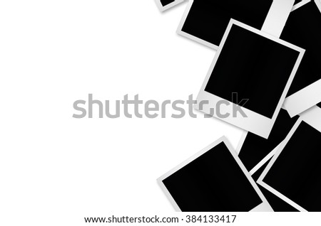 Blank polaroid photo papers isolated on white with clipping path. - stock photo