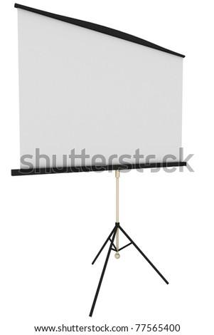 Blank portable projector screen - stock photo