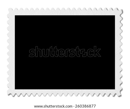 Blank post aged stamp isolated on white. Scanned, With clipping path. - stock photo