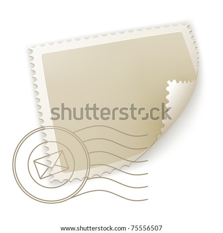 Blank Postage Stamp, bitmap copy - stock photo