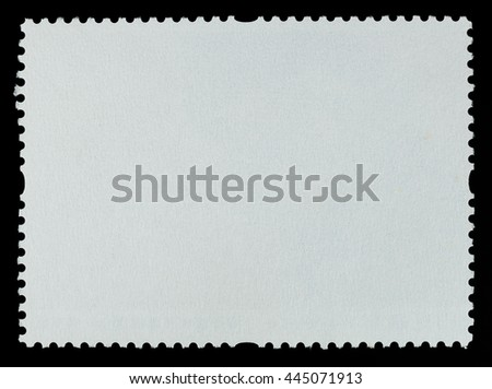 Blank postage stamp paper background texture on a black background - stock photo