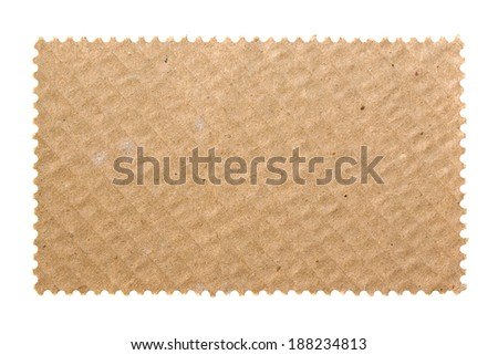 Blank postage stamp with cardboard background - stock photo