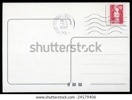 Blank postcard with stamp and postage meter - stock photo