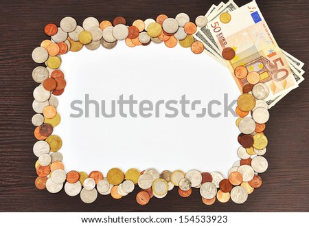blank poster and money, close up - stock photo