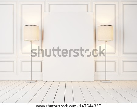 blank poster and two lamps - stock photo