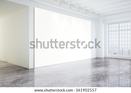 Blank poster in light modern loft gallery with big windows and concrete floor, mock up 3D Render - stock photo