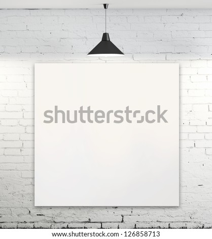 blank poster in room with ceiling lamp - stock photo