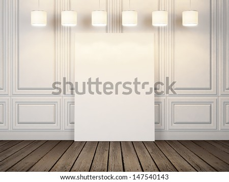 blank poster in white room - stock photo