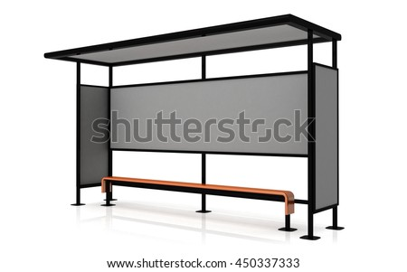 Blank poster on the wall of bus stop on white background, mock up 3D Render - stock photo