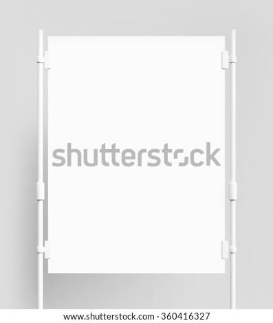 blank poster with metal clips on white background - stock photo
