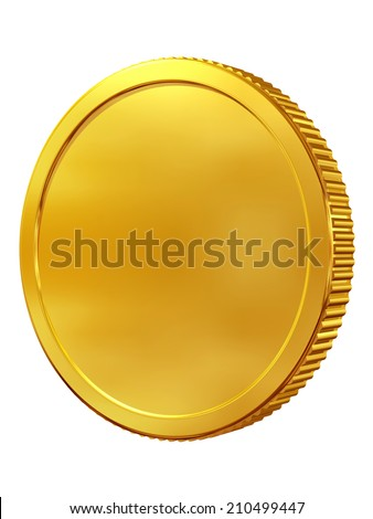 blank, preform coin or medal in gold - stock photo