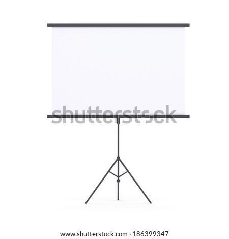 Blank presentation roller screen. Isolated render on white background - stock photo