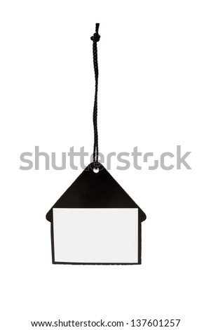 Blank price tag black on white background with soft shadow - stock photo