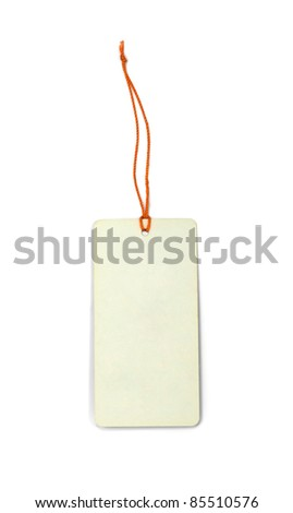 Blank price tag isolated on white - stock photo