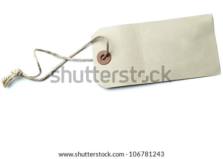 Blank price tag isolated on white with soft shadow, - stock photo