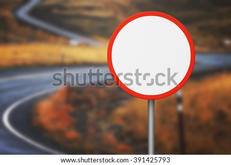 Blank Prohibition Road Sign - stock photo