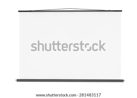 Blank Projection Screen with Rope on a white background - stock photo