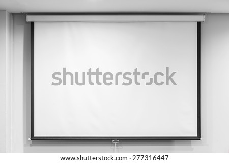 Blank projector screen in seminar room, education concept - stock photo