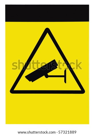 Blank protected by video surveillance sign, customizable, isolated - stock photo