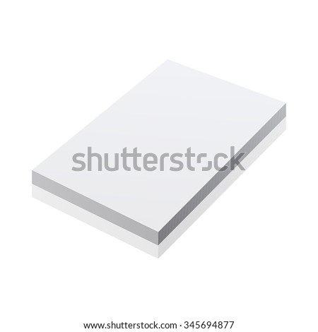 blank realistic notepad notebook isolated on white art - stock photo