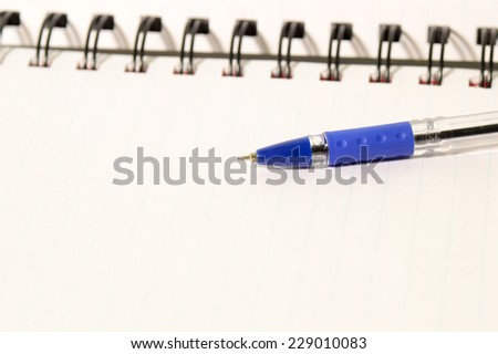 blank realistic spiral notepad notebook and pen - stock photo