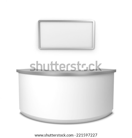 Blank reception counter. 3d illustration isolated on white background  - stock photo