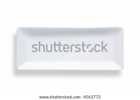 blank rectangular sushi dish over white background with shadow - stock photo