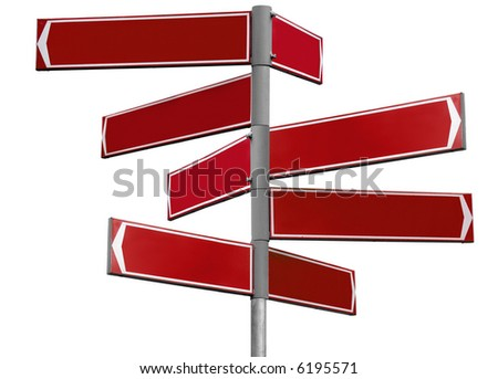 Blank red direction sign with 8 arrows (add your text) isolated on white - stock photo