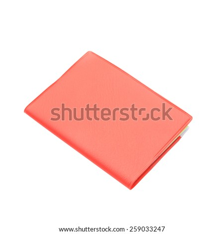 Blank red hardcover book isolated on white background - stock photo