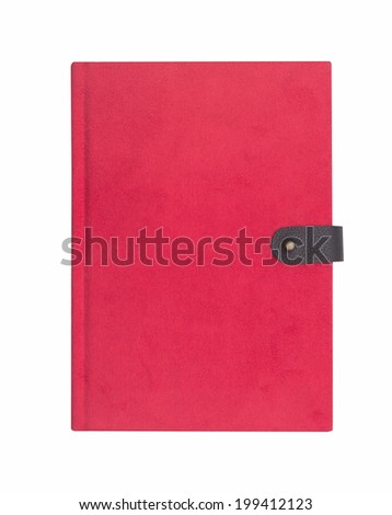 Blank red hardcover notebook isolated - stock photo