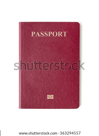 Blank red passport background on white background with clipping path. - stock photo