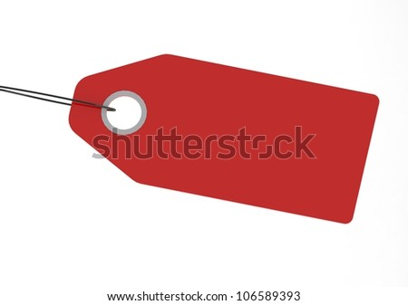 Blank Red Shopping Tag - stock photo
