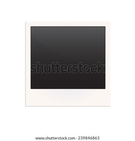 Blank retro photo frame isolated on white background.  - stock photo
