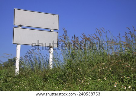 blank road sign on sunny day - stock photo