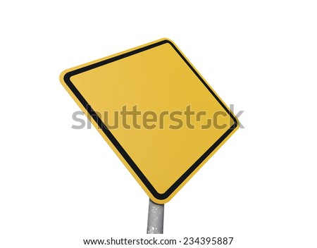 Blank road sign with white background - stock photo