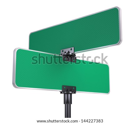 blank road signs isolated on white - stock photo
